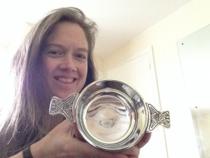 Beth Bennett with the Beth Bennett Award for Outstanding Services to Scottish Korfball